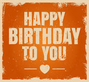 Vintage grunge Happy Birthday typographical card Royalty Free Stock Image