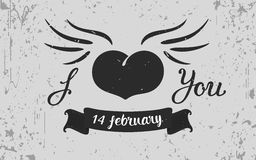 Vintage grunge Heart  on the grey background Royalty Free Stock Images