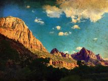 Vintage grunge image of Mountains in Zion Canyon, Utah, USA. Vintage grunge image of Mountains in Zion Canyon, with the virgin river, Zion National Park, Utah Royalty Free Stock Image