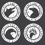 Vintage grunge labels with animals and birds negative space Stock Photo
