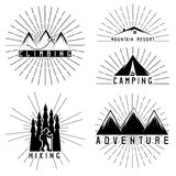 Vintage grunge labels mountain adventure, climbing and ca Royalty Free Stock Images