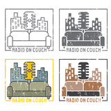 Vintage grunge labels of radio  microphone and couch Stock Photos