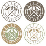Vintage grunge labels set of croquet country Stock Photos