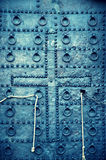 Vintage, grunge metal church or castle door Royalty Free Stock Images
