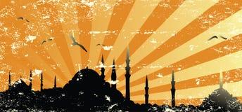 Vintage grunge mosque silhouette raster stock illustration