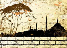 Vintage Grunge Mosque Silhouette Raster Royalty Free Stock Image