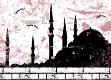 Vintage grunge mosque silhouette raster Royalty Free Stock Images