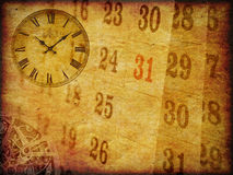 Vintage grunge paper with clock and calendar Stock Photos