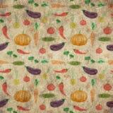 Vintage grunge pattern background hand drawn vegetables Stock Photo