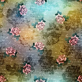 Vintage grunge pattern with roses on blurred Stock Images