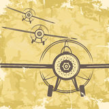 Vintage grunge postcard design with plane. Vector Royalty Free Stock Images
