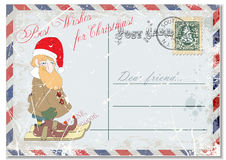 Vintage grunge postcard hand drawing gay dwarf ski, greeting merry Christmas. illustration Stock Photos