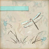 Vintage grunge sketch dragonfly greeting card Stock Image