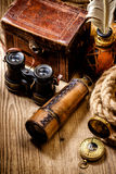 Vintage grunge still life. Antique items on wooden table Royalty Free Stock Image