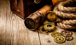 Vintage grunge still life. Antique items on wooden table royalty free stock photos