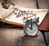 Vintage grunge still life with watch Stock Photo