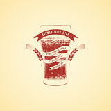 Vintage grunge style beer poster. Banner with glass of beer. Vector illustration. Royalty Free Stock Images