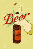 Vintage grunge style beer poster. Hand hold a bottle of beer. Retro vector illustration. Stock Image