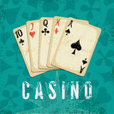 Vintage grunge style casino poster with playing cards. Retro vector illustration. Royalty Free Stock Photography