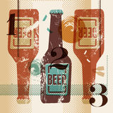 Vintage grunge style poster with a beer bottles. Retro vector illustration. Royalty Free Stock Image