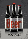 Vintage grunge style poster with a beer bottles. Retro vector illustration. Stock Photography
