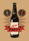 Vintage grunge style poster for retro party with a beer bottle. Vector illustration. Stock Images