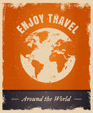Vintage grunge travelling logo template with earth. Vector grunge design with text Enjoy Travel. Vintage summer travelling logo template with earth Stock Images