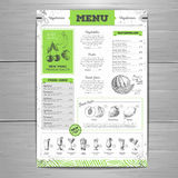 Vintage grunge vegetarian food menu design. Stock Photography