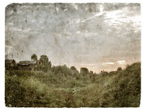 Vintage grunge village Stock Image