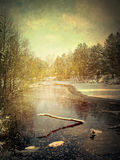 Vintage grunge winter landscape Stock Photo