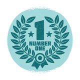 Vintage grunge wreath number one label design. Isolated on white. Vector illustration Royalty Free Stock Photos
