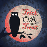Vintage grungy Halloween design (vector). Vintage grungy Halloween design with full moon and owl silhouette, vector (eps8 royalty free illustration