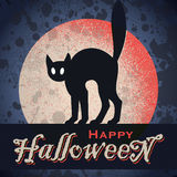 Vintage grungy Halloween design (vector). Vintage grungy Halloween design with full moon and cat silhouette, vector (eps8 royalty free illustration