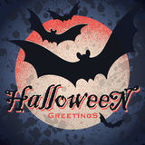 Vintage grungy Halloween design (vector). Vintage grungy Halloween design with full moon and flying bats silhouettes, vector (eps8 stock illustration