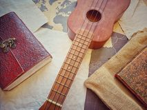 Vintage Guitar Flatlay royalty free stock photo