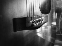 Vintage guitar. My acoustic guitar with old string and classic sound Royalty Free Stock Images