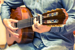 Vintage guitar player Stock Photography