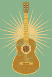 Vintage guitar poster. Retro typographical grunge vector illustration. Royalty Free Stock Images