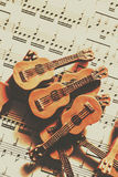 Vintage guitars on music sheet Stock Images