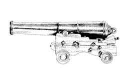 Vintage gun drawn in ink by hand Royalty Free Stock Photos