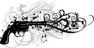 Vintage gun with grungy swirls. On white background Stock Photo