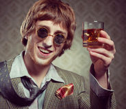 Vintage guy enjoying drugs Stock Photos