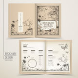 Vintage half- fold template design. With floral and butterflies Stock Images