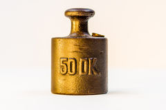 Vintage Half Kilogram Golden Calibration Weight Royalty Free Stock Images