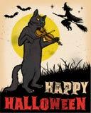 Vintage Halloween Cat Playing Violin Poster Photos stock