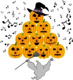 Vintage halloween ghost singing pumpkins Stock Image