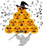 Vintage halloween ghost singing pumpkins Stock Image