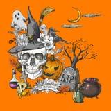 Vintage Halloween Invitation Card with Skull Royalty Free Stock Photos