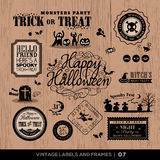 Vintage Halloween labels and frames set Royalty Free Stock Photos