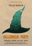Vintage Halloween party witch poster Royalty Free Stock Photography